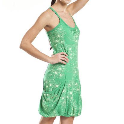 Dámské zelené šaty s květinovým potiskem Alpine Pro