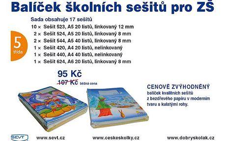 Balíček školních sešitů pro 5. třídu ZŠ