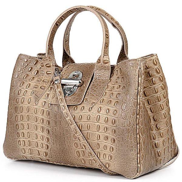 Dámká šedohnědá kabelka s krokodýlím vzorkem Giulia