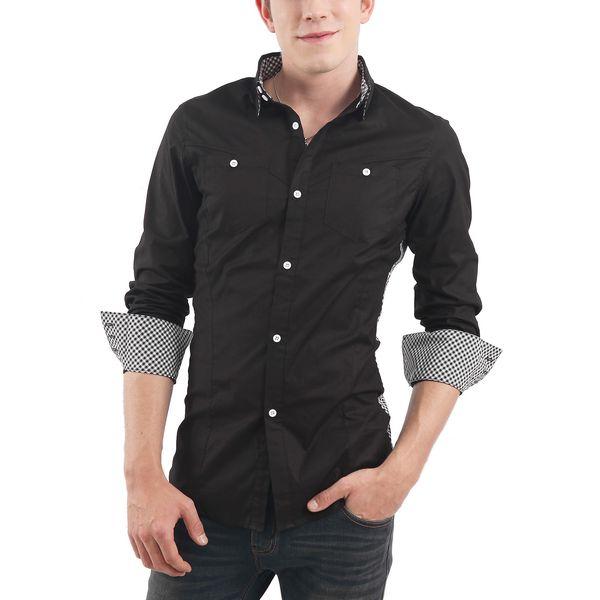 Pánská casual košile Doublju - černá s kostičkou na boku