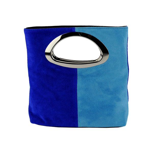Dámská modrá dvoubarevná kožená kabelka do ruky Giulia