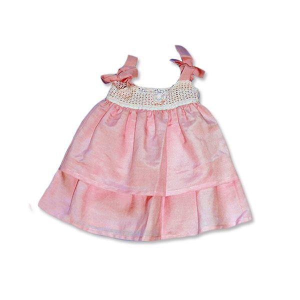 Růžové šatečky s háčkovaným topem