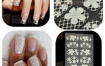 Nálepky na nehty v podobě bílé krajky a květů a poštovné ZDARMA! - 24412730