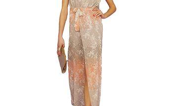 Dámské dlouhé vzorované šaty s korálově barevnými prvky Angel Eye