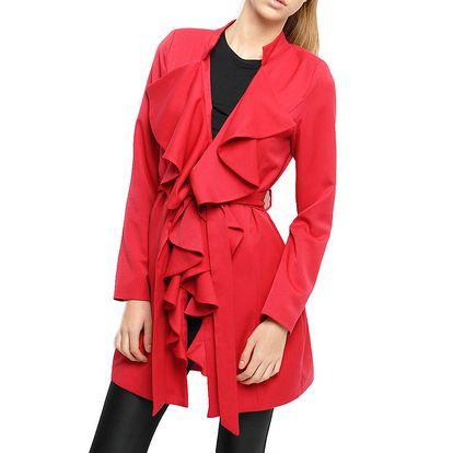 Dámský červený kabát s volány Angel Eye
