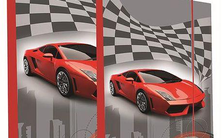 SET Desky na sešity s boxem A4+A5 + dárek sešit 444 - Auto