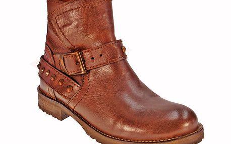 Dámké hnědé kotníkové boty s páskem přes nárt Red Hot