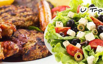 1,2 kg grilovaného masa + salát
