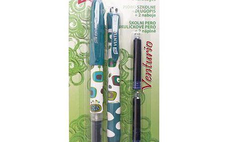 EASY Set Venturio kuličkové a školní pero, 2 bombičky - zelená v blistru