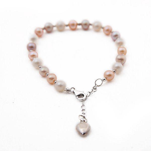 Dámský perlový náramek se srdíčkem Orchira
