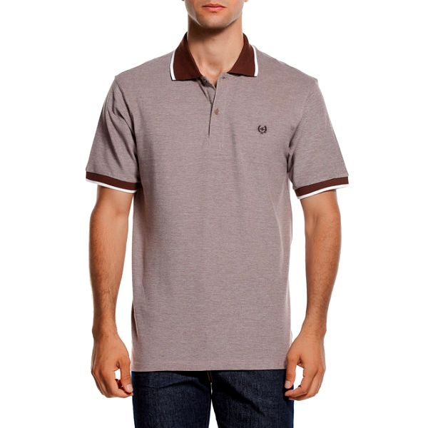 Pánské polo triko s hnědým límečkem Dewberry