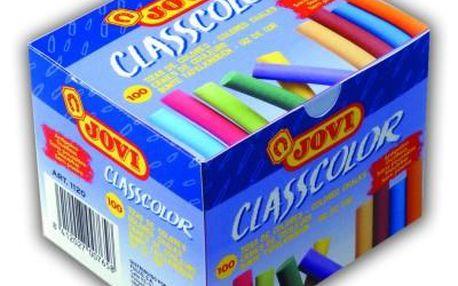 Křídy školní Jovi - 100 kusů barevné, bezprašné - velikost cca 8 cm, průměr 0,7 cm, Sleva 20%