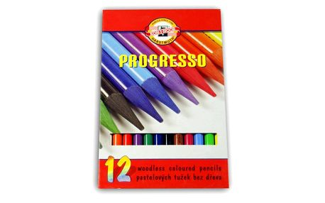 Koh-i-noor Pastelky Progresso dlouhé - 12 barev