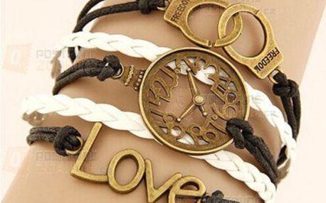Vícevrstvý náramek s nápisem Love a motivem pout a poštovné ZDARMA! - 24612832