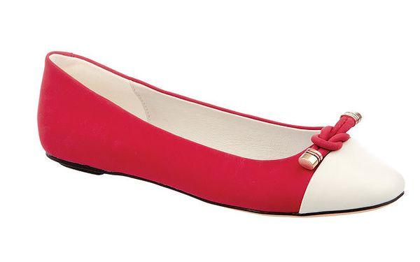Dámské červeno-bílé baleríny Keddo