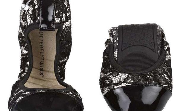 Dámské krémové baleríny s černou krajkou Butterfly Twists