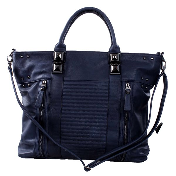 Dámská tmavě modrá kabelka s ozdobnými zipy a cvočky Bessie