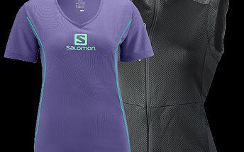 Dámská funkční vesta Motoves Black a turistické tričko Stroll Logo Tee od značky Salomon