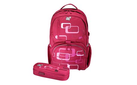 Školní batoh be. bag cube - Retro s anatomicky tvarovanými polstrovanými zády + pouzdro