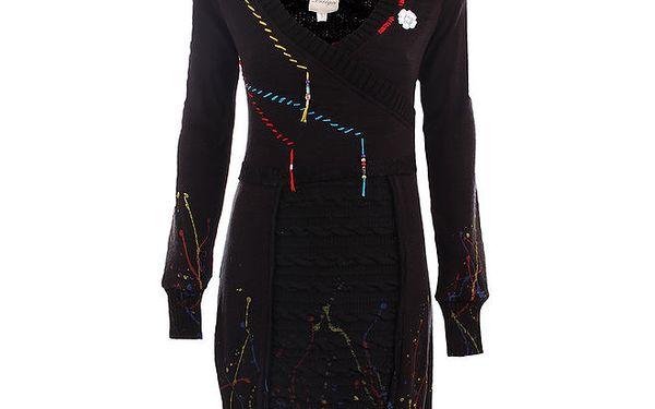 Dámské černé svetrové šaty s barevnými stehy DY Dislay Design
