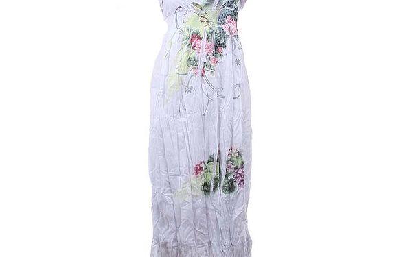 Dámské bílé dlouhé mačkané šaty Dislay DY Design