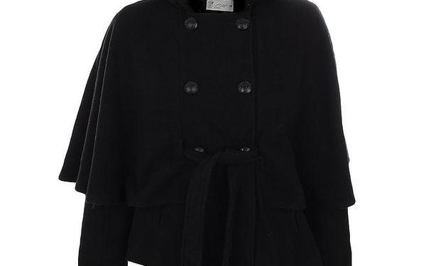 Dámský černý kabátek s dvouřadým zapínáním a páskem Gémo