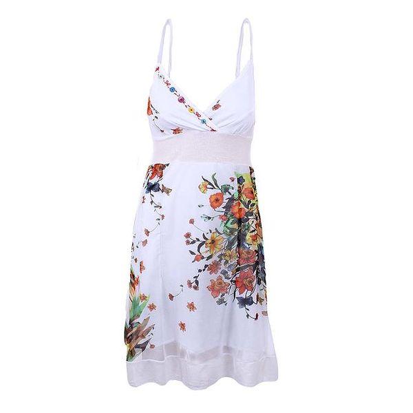 Dámské bílé šaty s hlubokým dekoltem Dislay DY Design