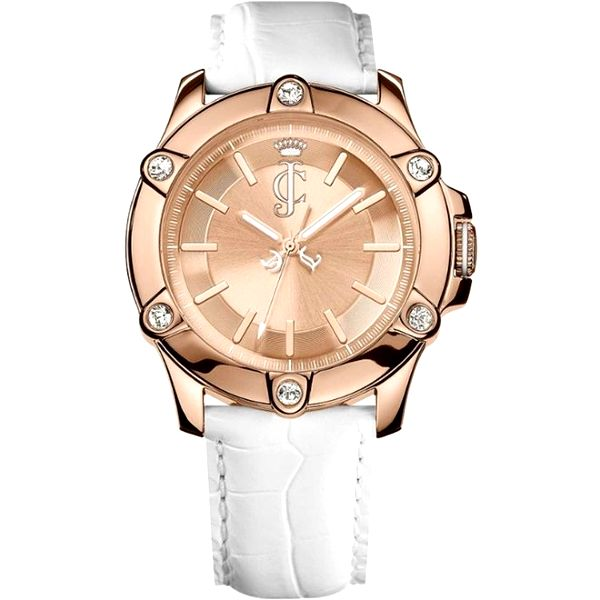 Dámské analogové hodinky s bílým náramkem Juicy Couture