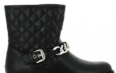 Dámské kotníkové černé boty s prošíváním a řetízkem Shoes and the City