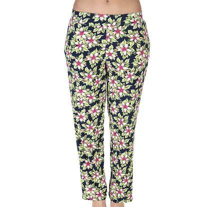 Dámské dlouhé kalhoty s růžovými kvítky Azura