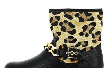 Dámské kotníkové boty se zvířecím vzorem a řetízkem Shoes and the City