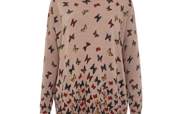 Dámský béžový svetřík s motýlky Iska