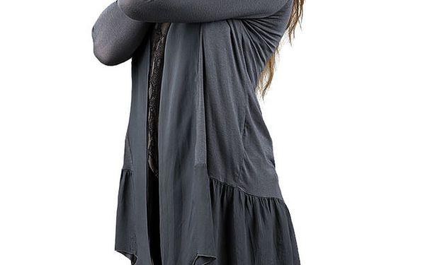 Dámský antracitový prodloužený lehký svetřík Keysha
