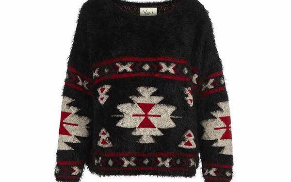 Dámský černý svetr s indiánskými vzory Yumi