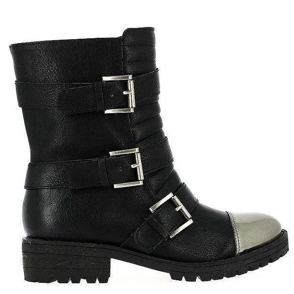 Dámské černé kotníkové boty s přezkami Shoes and the City