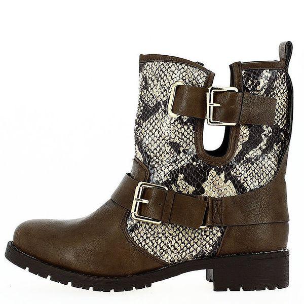 Dámské hnědé boty s přezkami a hadím vzorem Shoes and the City