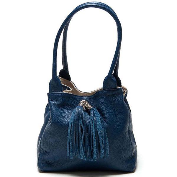 Dámská temně modrá kožená taška s třásněmi Luisa Vannini