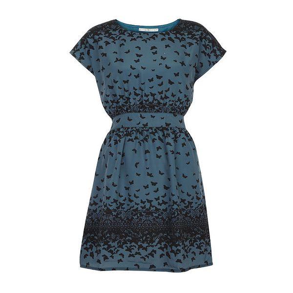 Dámské petrolejové šaty s ptáčky Uttam Boutique