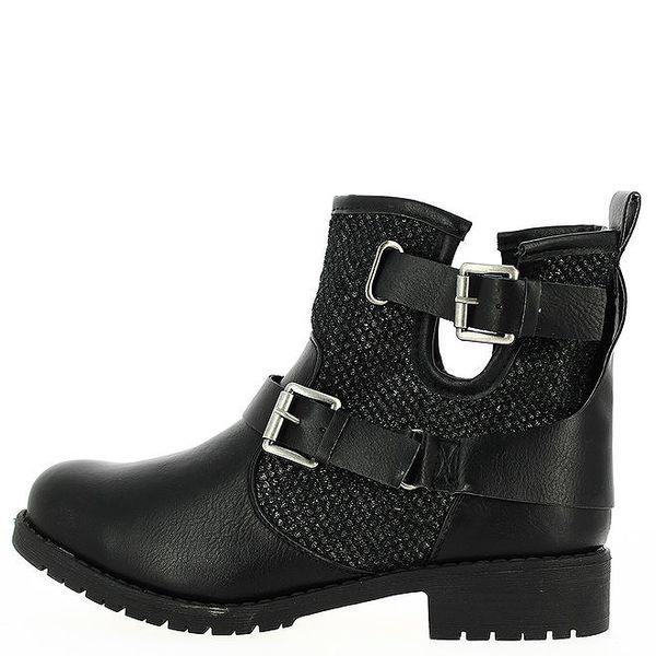 Dámské černé nazouvací boty s přezkami Shoes and the City