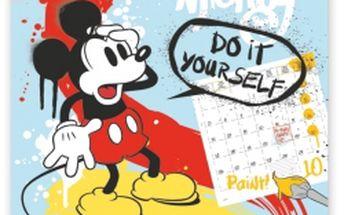 W. Disney Mickey Mouse - omalovánkový s pastelkami, poznámkový kalendář, 30 x 30 cm
