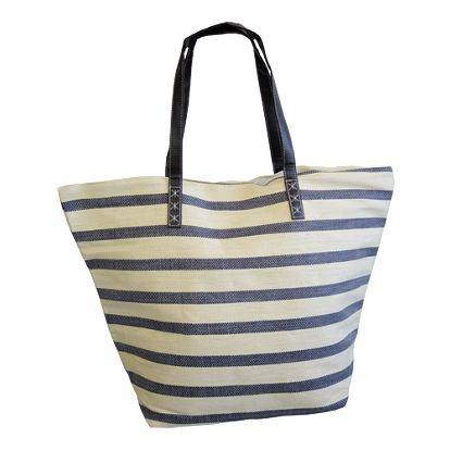 Plážová taška přes rameno, pruhovaná, béžovo - čer