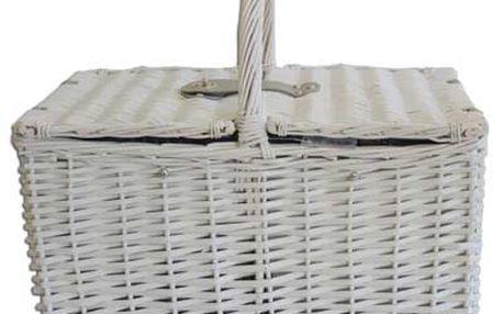 Piknikový koš - proutěný, bílý