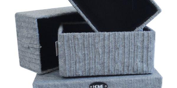 Úložné krabice - sada 4 kusů, barva šedá