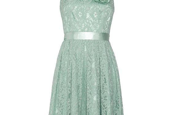 Dámské krajkové zelenkavé šaty Fever