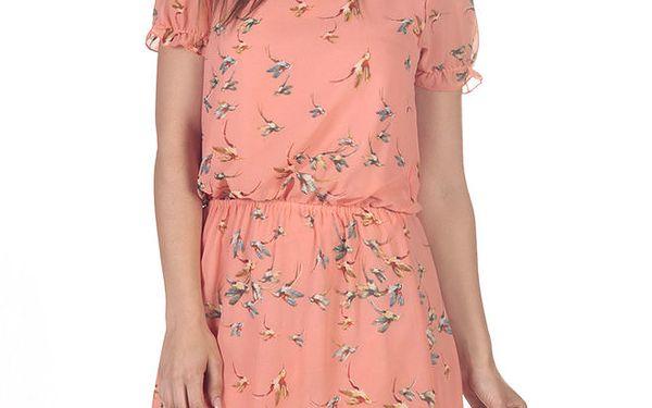 Dámské meruňkové šaty s potiskem ptáčků Azura