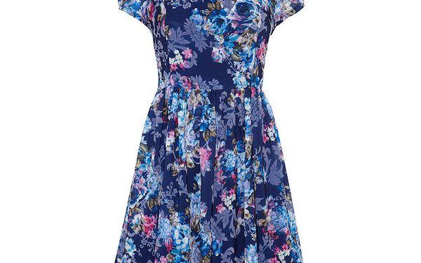 Dámské modré šaty s květinovým vzorem Yumi