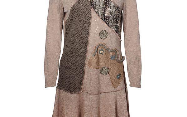 Dámské hnědé šaty s aplikacemi Sugar Crisp