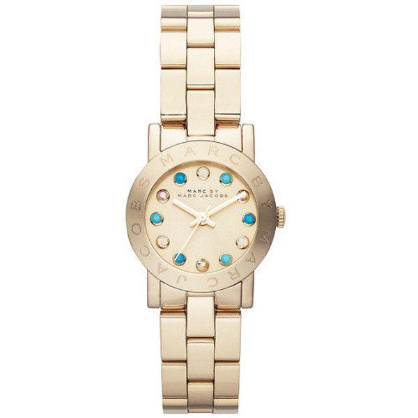 Dámské zlaté hodinky s barevnými krystaly Marc Jacobs