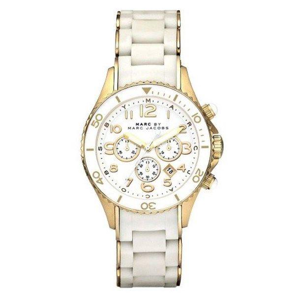 Dámské bílé hodinky se zlatými prvky Marc Jacobs