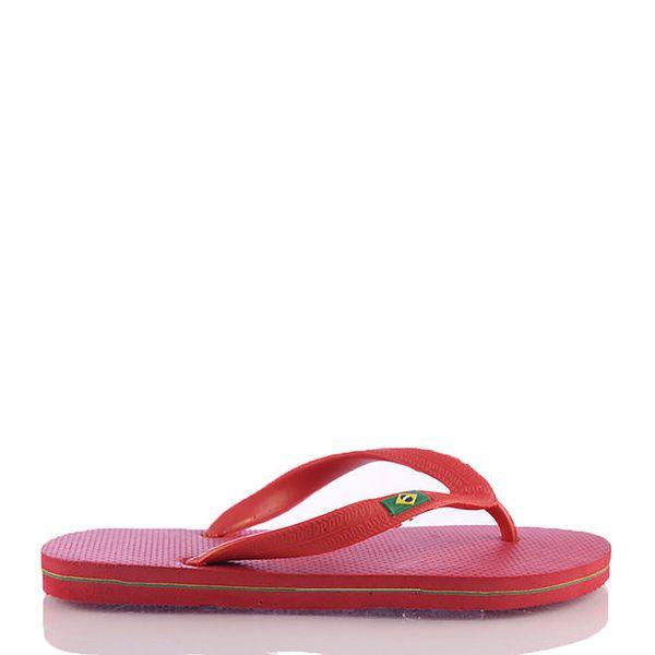 Dámské červené žabky s brazilskou vlajkou Kookside